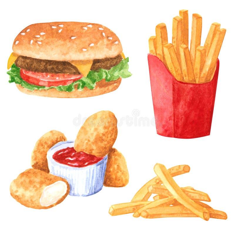 Sistema del clipart de la comida rápida, patatas fritas, hamburguesa, pepitas de pollo stock de ilustración