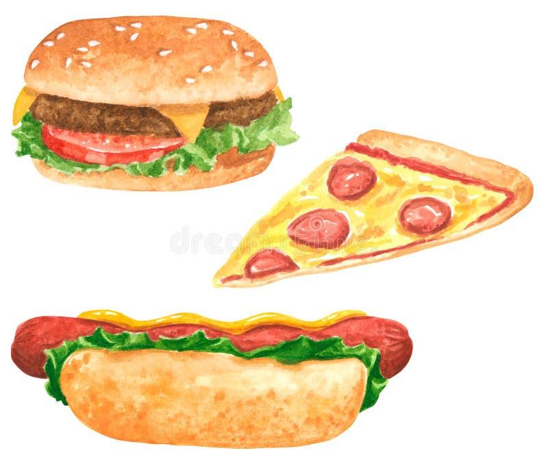 Sistema del clipart de la comida rápida, perrito caliente con las hojas de la ensalada y salsa de tomate, rebanada de la pizza, h stock de ilustración