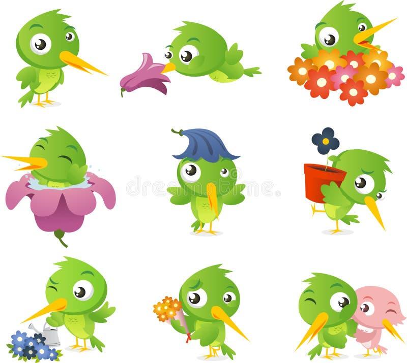 Sistema del colibrí stock de ilustración