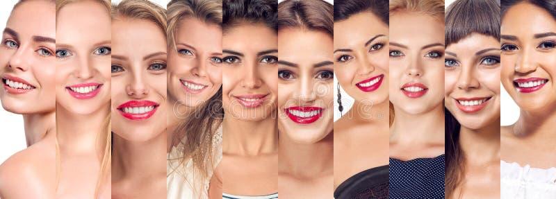 Sistema del collage de caras de las mujeres foto de archivo