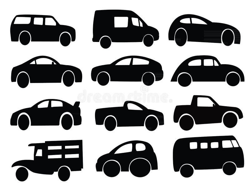Sistema del collage de la silueta del coche ilustración del vector
