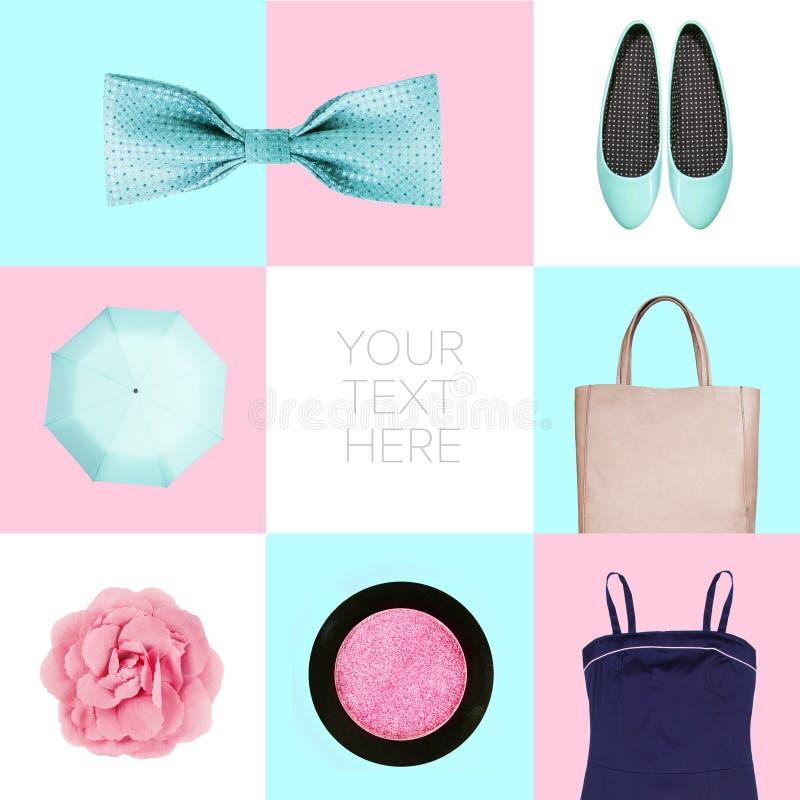 Sistema del collage de ropa contemporánea de la moda fotos de archivo