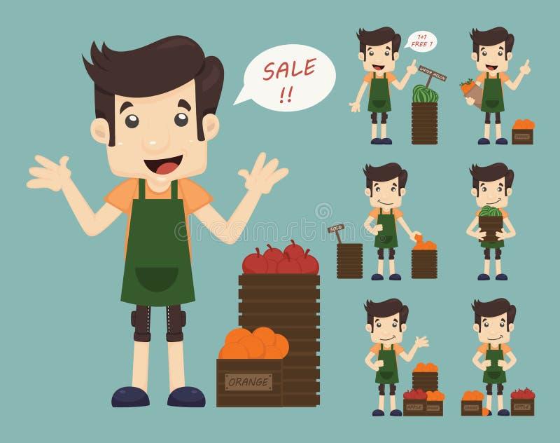 Sistema del comerciante del youg, hombre de la venta en la tienda de las compras del mercado stock de ilustración