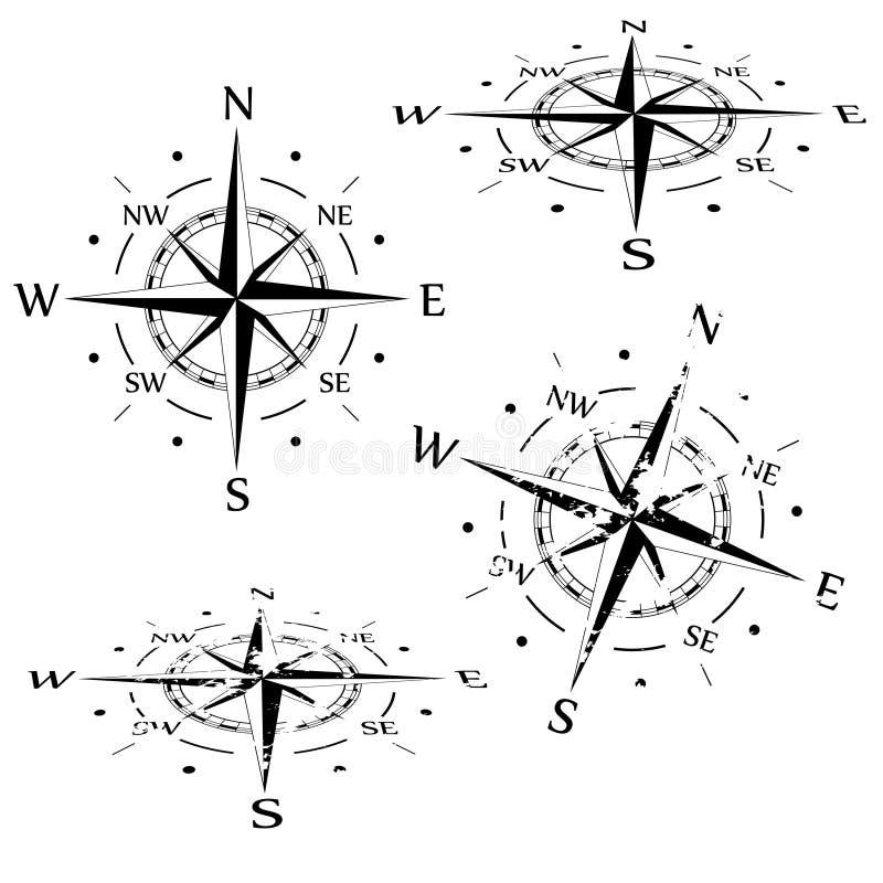 Sistema del compás del vector del Grunge ilustración del vector