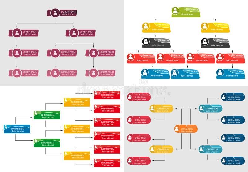Sistema del concepto colorido de la estructura del negocio cuatro libre illustration