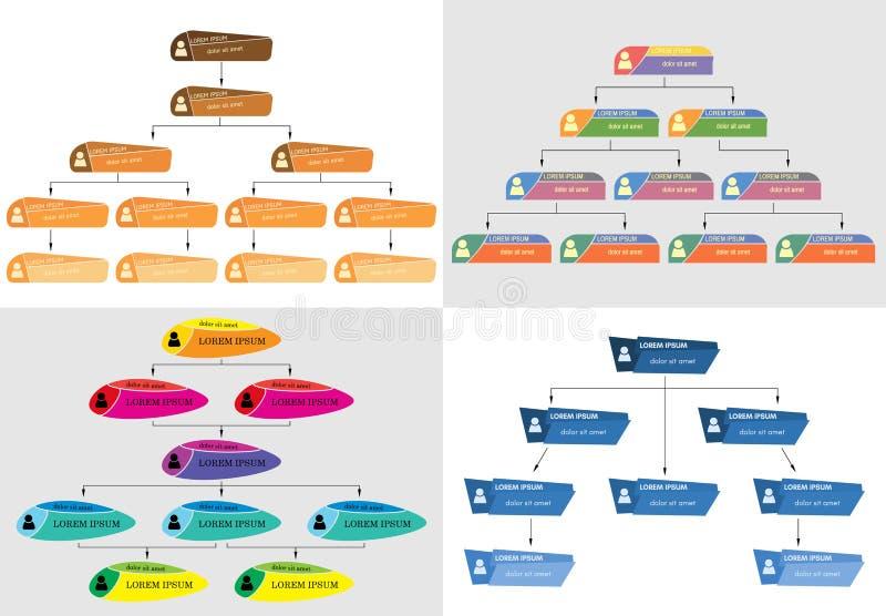 Sistema del concepto colorido de la estructura del negocio cuatro stock de ilustración