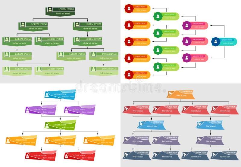 Sistema del concepto colorido de la estructura del negocio cuatro ilustración del vector