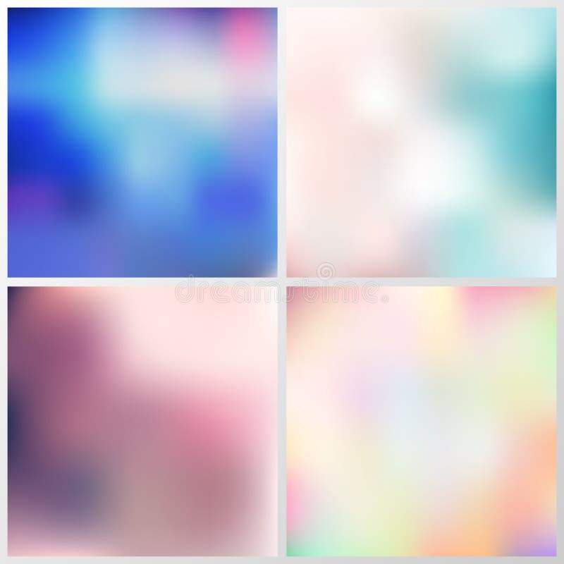 Sistema del concepto creativo borroso multicolor abstracto del fondo ilustración del vector