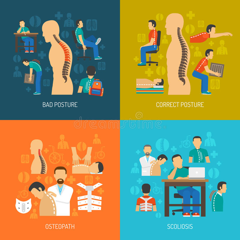 Sistema del concepto de diseño de la postura 2x2 libre illustration