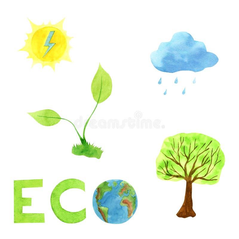 Sistema del concepto de la ecología del ejemplo de la acuarela, el poner letras dibujado mano imagen de archivo libre de regalías