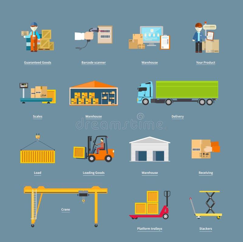 Sistema del concepto de la logística del transporte de los iconos ilustración del vector