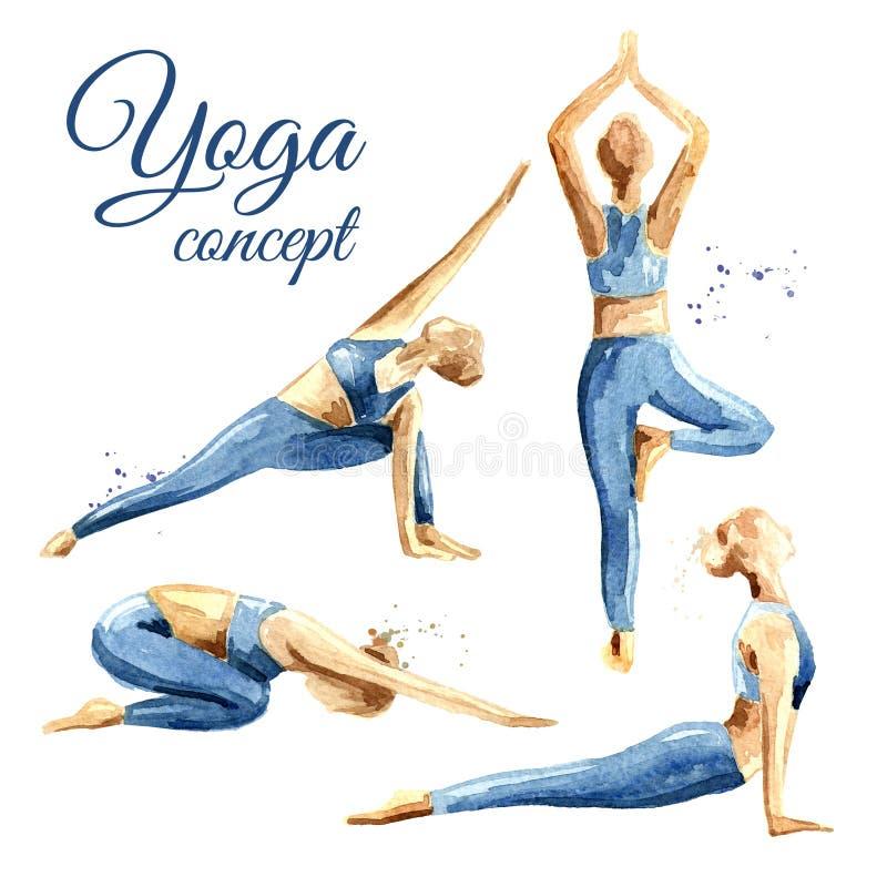 Sistema del concepto de la yoga Práctica de la mujer Ejemplo dibujado mano de la acuarela aislado en el fondo blanco ilustración del vector