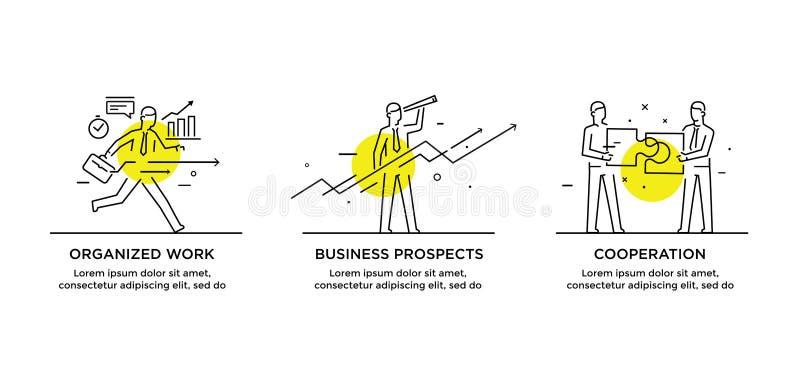 Sistema del concepto de los ejemplos con los hombres de negocios Flujo de trabajo, crecimiento, gráficos Desarrollo de negocios,  stock de ilustración