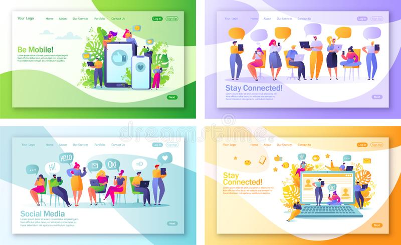 Sistema del concepto de p?ginas de aterrizaje en el tema social de los medios para el desarrollo de la p?gina web y el dise?o m?v stock de ilustración
