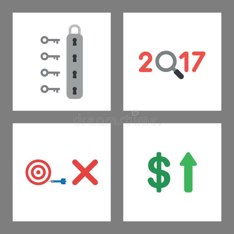 Sistema del concepto del icono Desbloquee el candado, 2017 con la lupa, ojo de toros, falte la blanco, dólar para arriba libre illustration