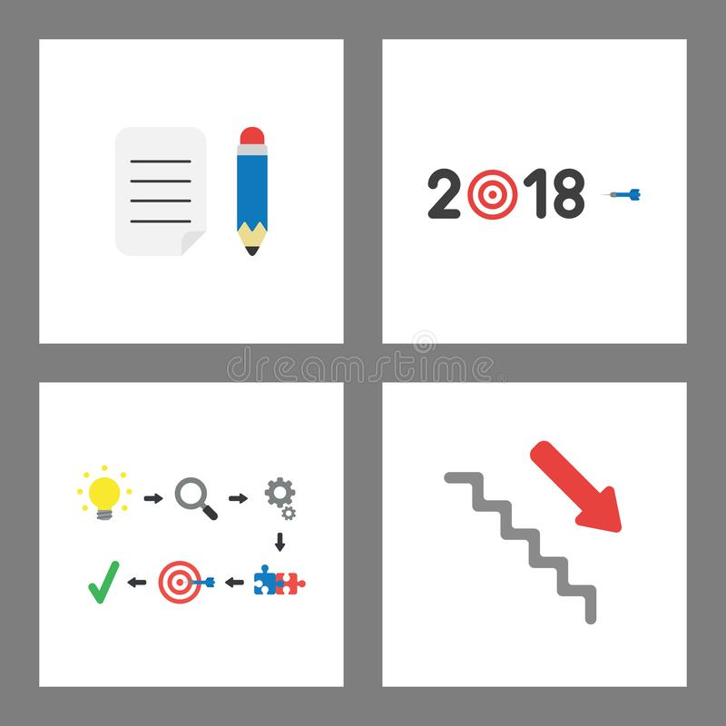 Sistema del concepto del icono Papel escrito con el lápiz, año de ojo de 2018 toros y de dardo, éxito y mudanza abajo en las esca stock de ilustración