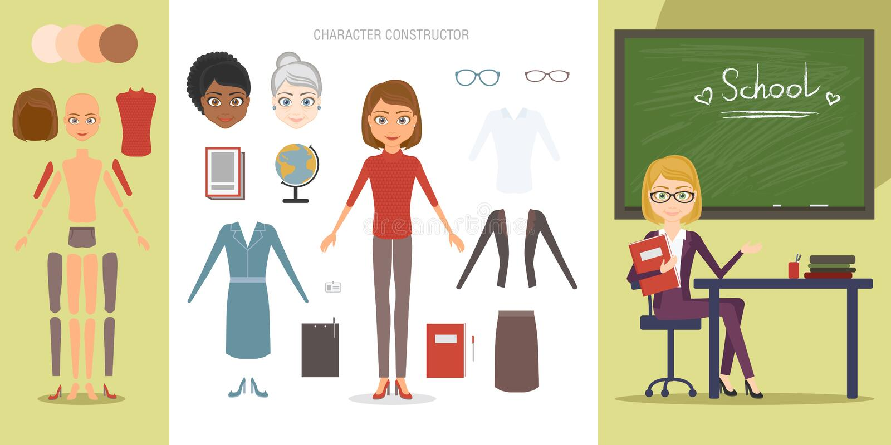 Sistema del constructor del carácter del profesor Ejemplo infographic del estilo plano del vector de la historieta Un funcionamie libre illustration