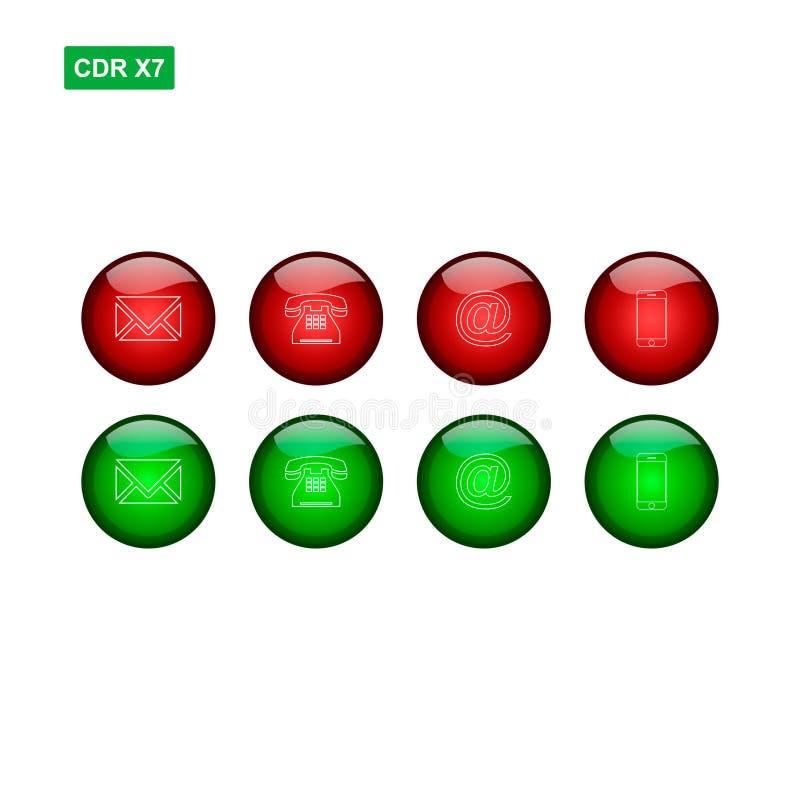 Sistema del contacto rojo y verde de la web que vector de los botones aislamos stock de ilustración