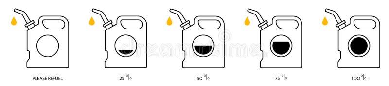 Sistema del contorno del aceite del bote stock de ilustración