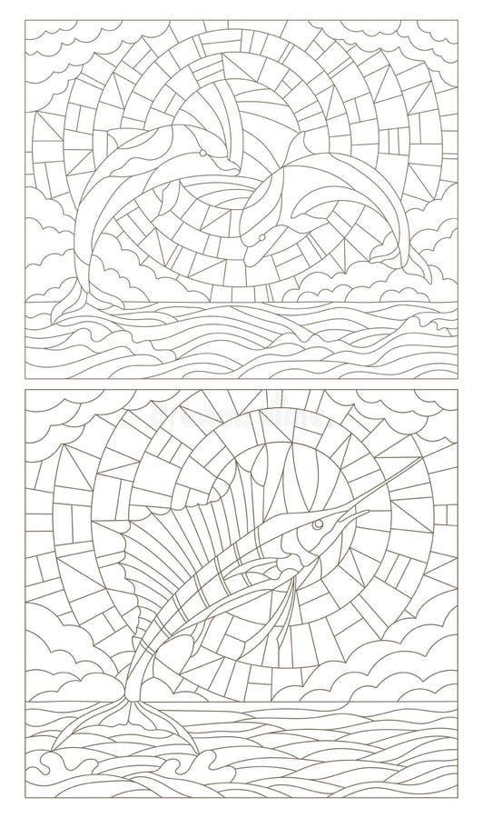 Sistema del contorno de ejemplos del vitral con los delfínes y el velero de los pescados en el fondo, la nube, el cielo y el sol  ilustración del vector