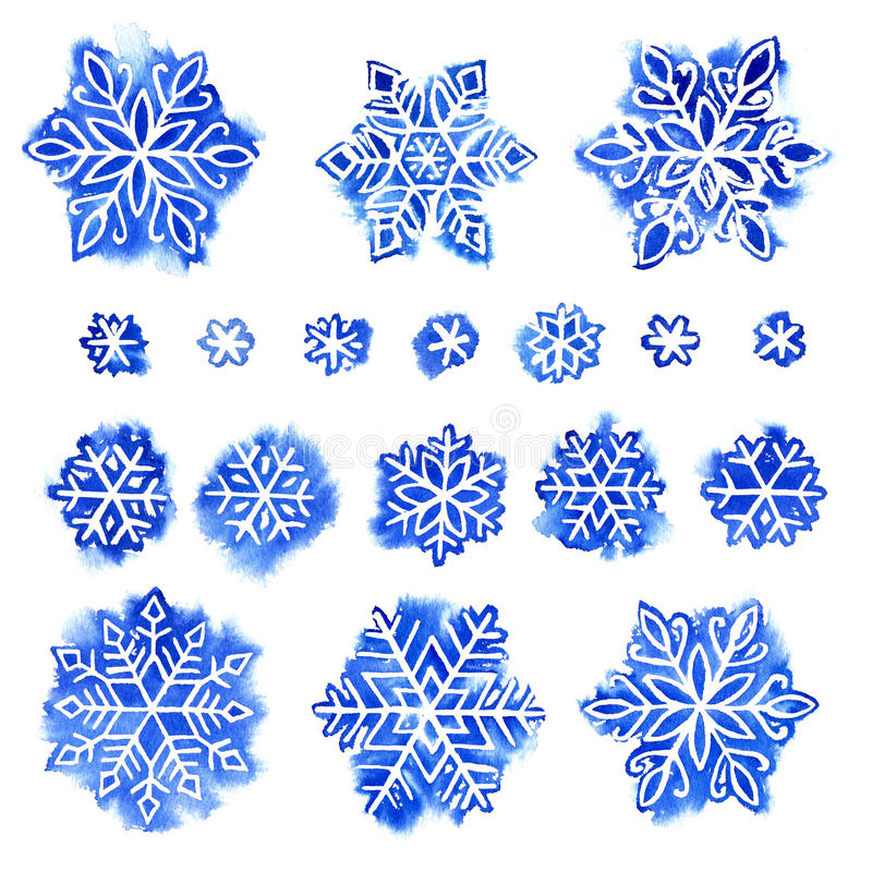 Sistema del copo de nieve de la acuarela foto de archivo