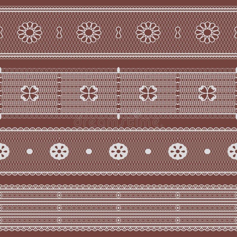 Sistema del cordón Cintas inconsútiles del lacework Vector ilustración del vector