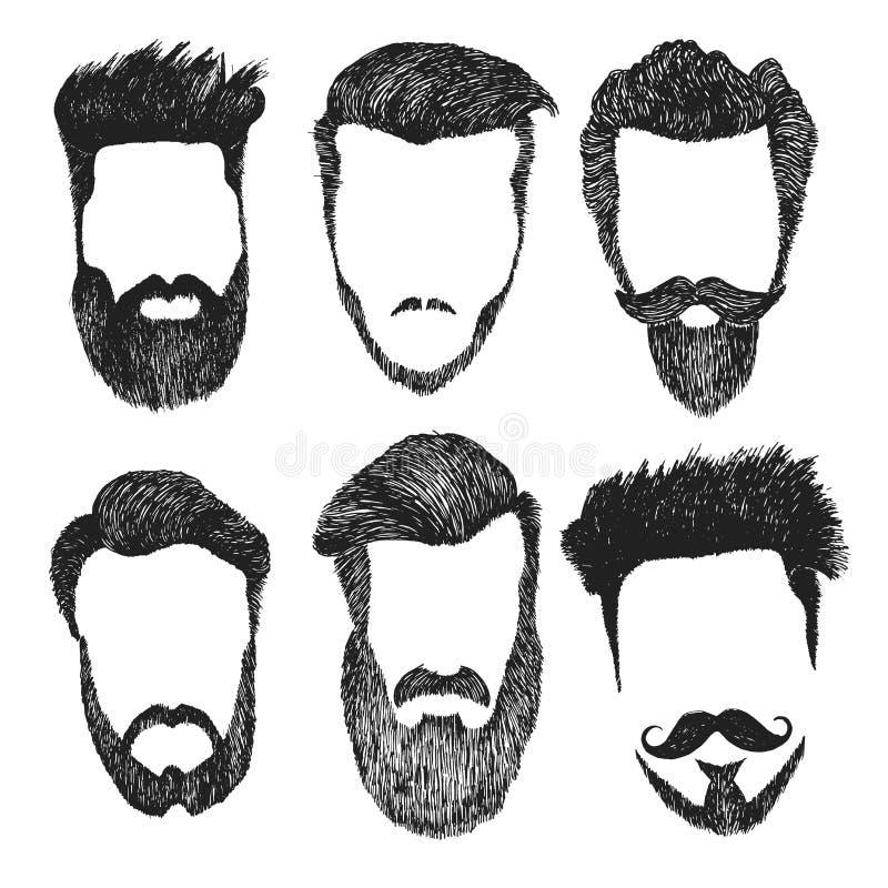 Sistema del corte de pelo del estilo del inconformista, barba, bigote del vector stock de ilustración