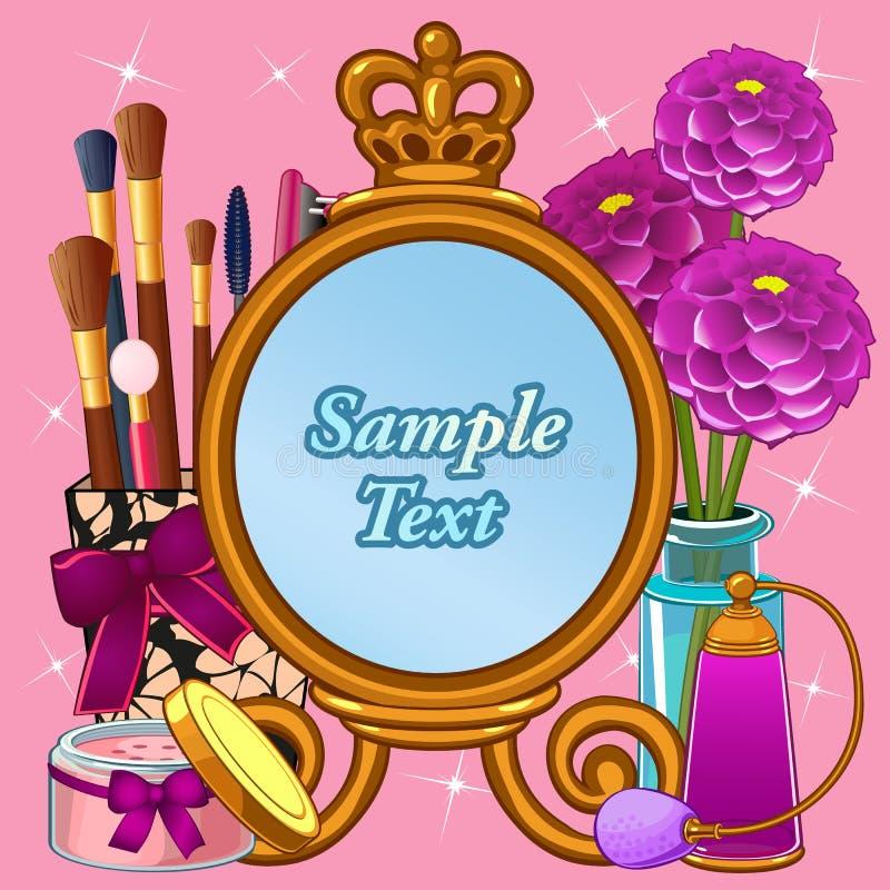 Sistema del cosmético con el espejo y espacio para el texto ilustración del vector
