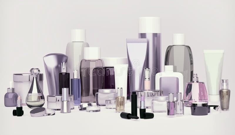 Sistema del cosmético decorativo Polvo, lápiz corrector, cepillo de la sombra de ojos fotos de archivo