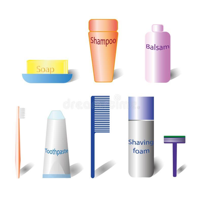 Sistema del cosmético del baño botella del cosmético 3d Botella cosmética plástica Champú, bálsamo, jabón, cepillo de dientes, cr ilustración del vector