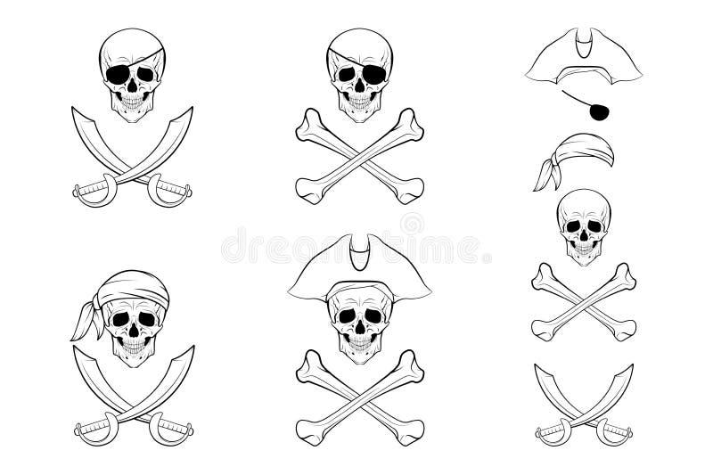 Sistema del cráneo del pirata Plantillas del diseño del vector libre illustration