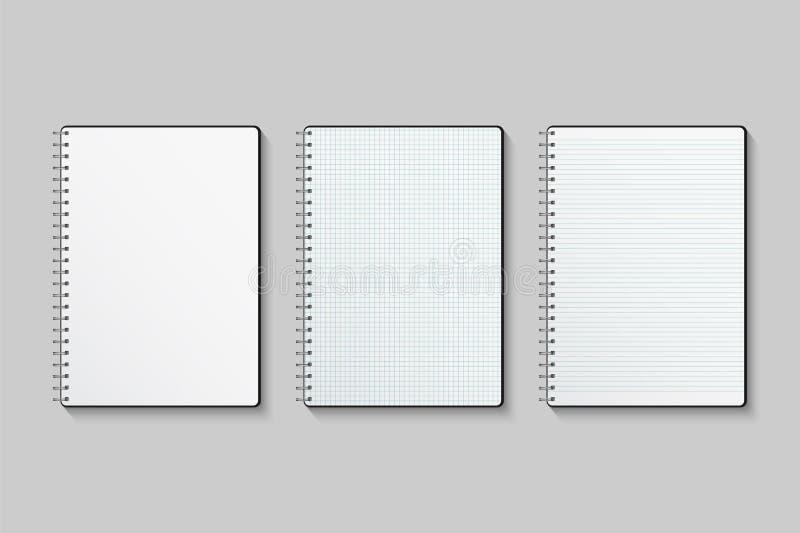Sistema del cuaderno del vector Cuadernos del papel en blanco, alineado y ajustado aislados en fondo gris ilustración del vector
