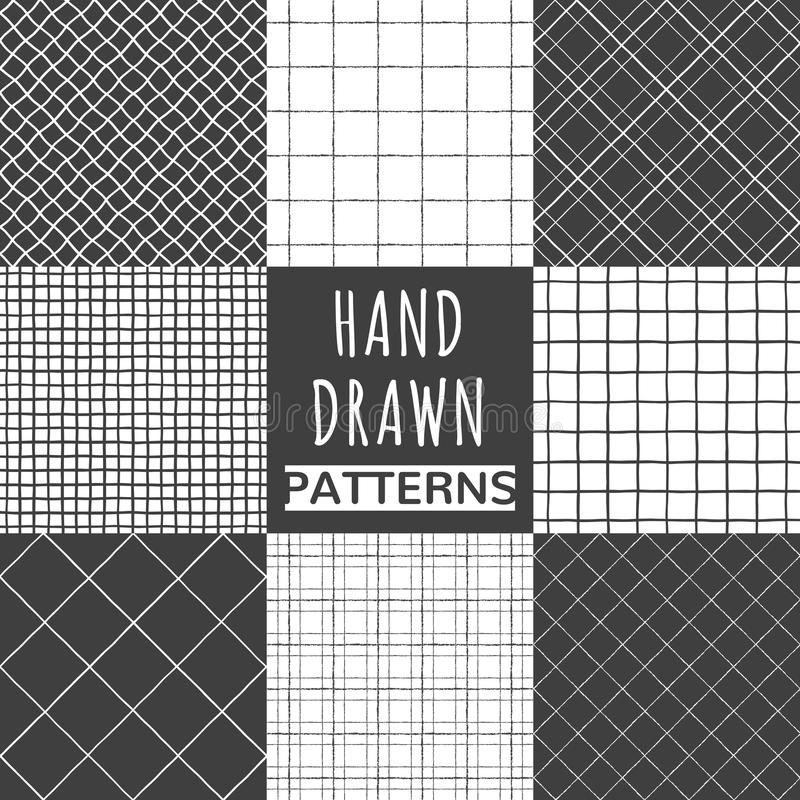 Sistema del cuadrado dibujado mano, control, modelos inconsútiles netos stock de ilustración
