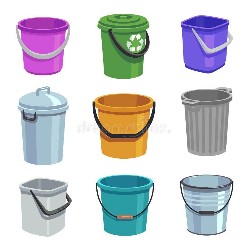 Sistema del cubo y del cubo Envases vacíos con la manija, los cubos de la basura y los cubos con agua Sistema aislado historieta stock de ilustración