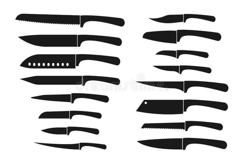 Sistema del cuchillo de cocina Los cuchillos del cocinero y de carnicero siluetean iconos aislados vector stock de ilustración