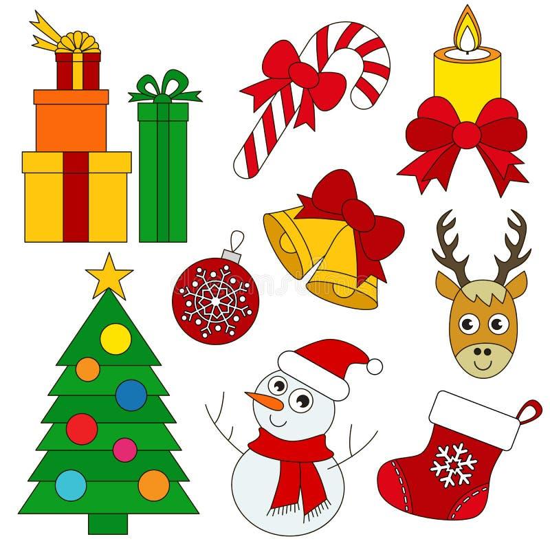 Sistema del día de fiesta de la Navidad, la colección de plantilla del libro de colorear, el grupo de elementos digitales del esq libre illustration