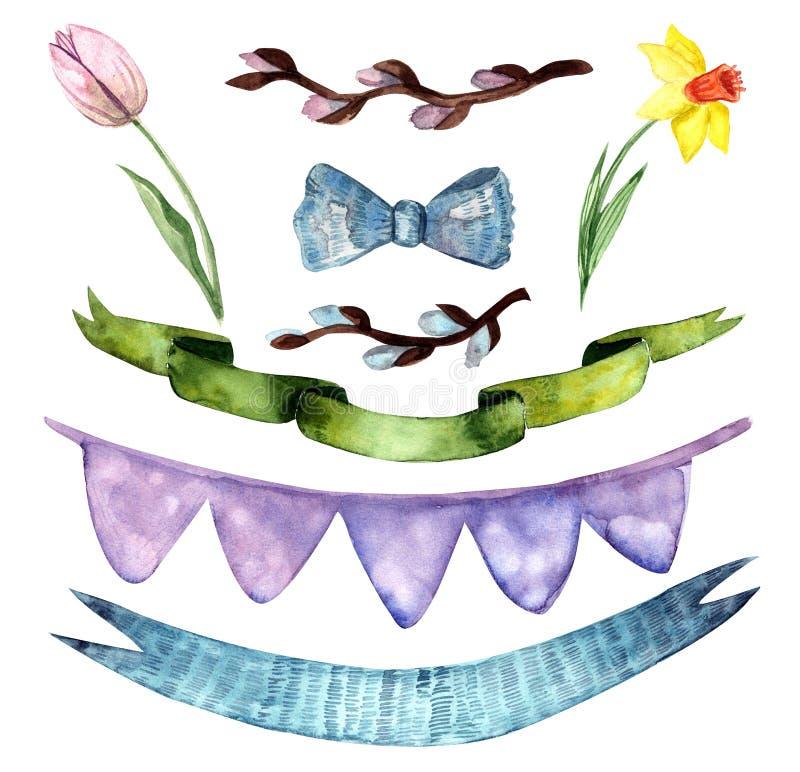Sistema del día de fiesta, pascua feliz, flores de la acuarela, cintas ilustración del vector