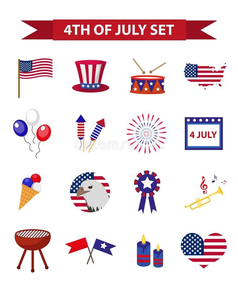 Sistema del Día de la Independencia patriótico de los iconos de América 4 de julio colección de elementos del diseño, aislada en  ilustración del vector