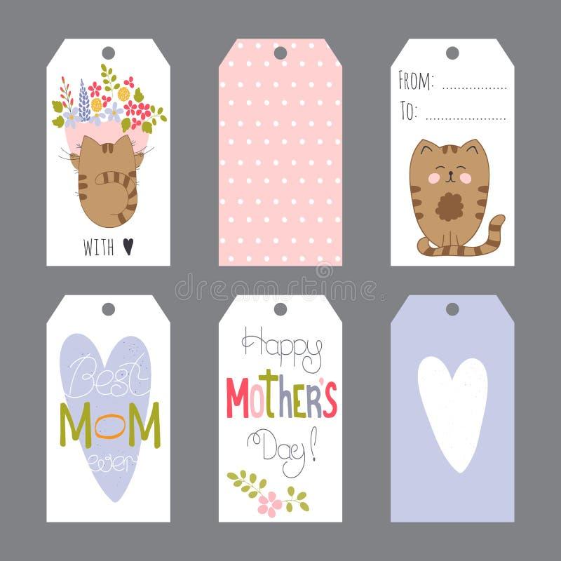 Sistema del día de madres de etiquetas stock de ilustración