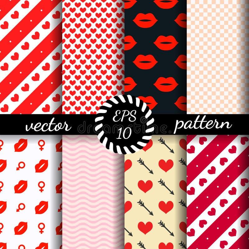 Sistema del día de tarjeta del día de San Valentín inconsútil de los modelos Papel pintado romántico libre illustration