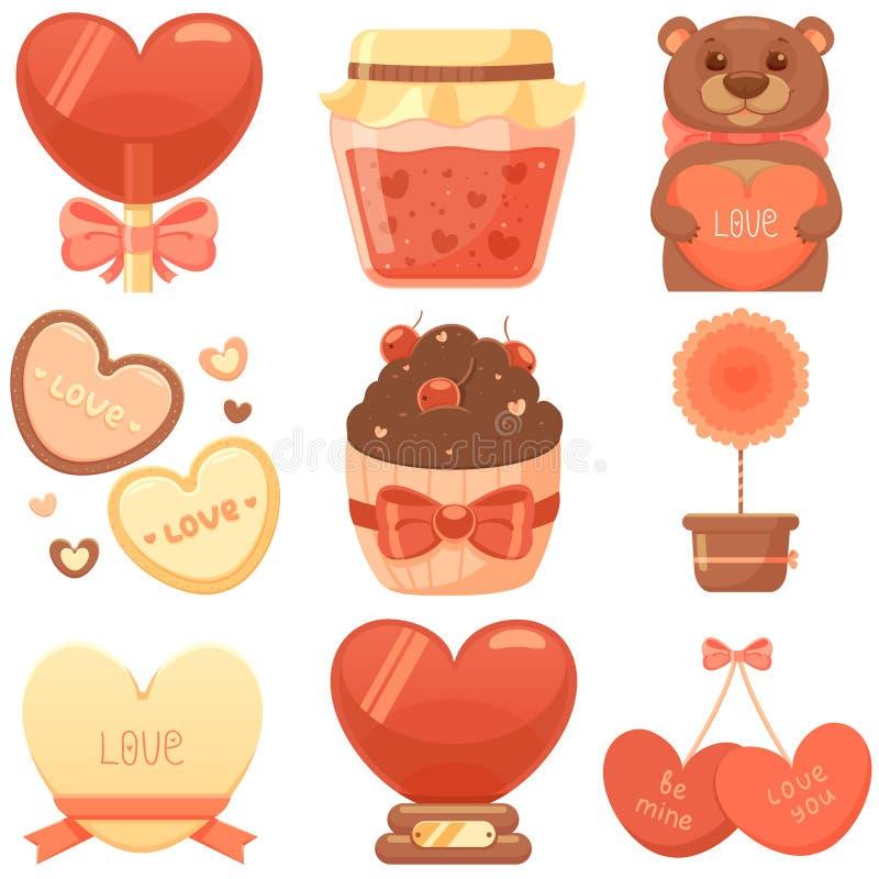 Sistema del día de tarjetas del día de San Valentín del St stock de ilustración