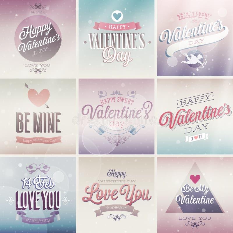 Sistema del día del ` s de la tarjeta del día de San Valentín ilustración del vector