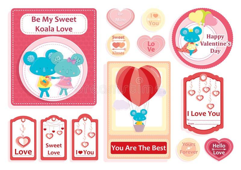 Sistema del día del ` s de la tarjeta del día de San Valentín de tarjetas de felicitación, de etiquetas engomadas y de etiquetas  ilustración del vector