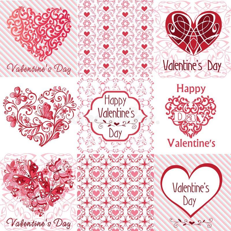 Sistema del día feliz del ` s de la tarjeta del día de San Valentín de las tarjetas de felicitación Ilustración del vector ilustración del vector