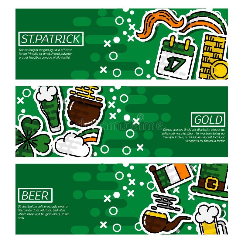 Sistema del día horizontal de StPatricks de las banderas stock de ilustración