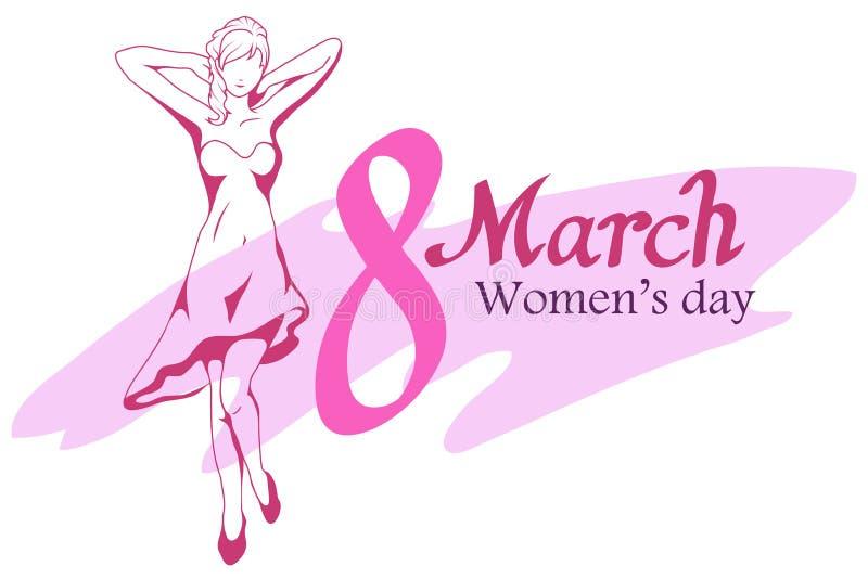 Sistema del día del ` s de las mujeres Letras de día felices de las mujeres 8 de marzo stock de ilustración