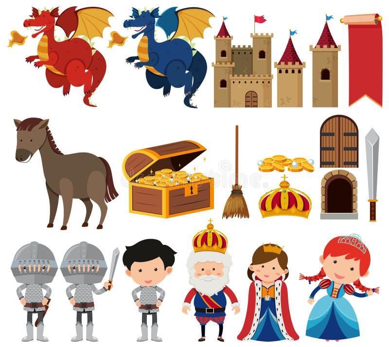 Sistema del sistema de la reina y del rey de la fantasía stock de ilustración
