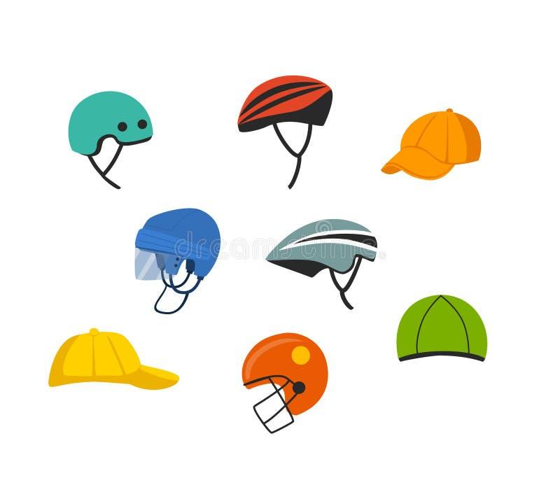Sistema del deporte y del sombrero recreativo, cascos de fútbol americano americanos de ciclo del hockey de la protección que sub libre illustration