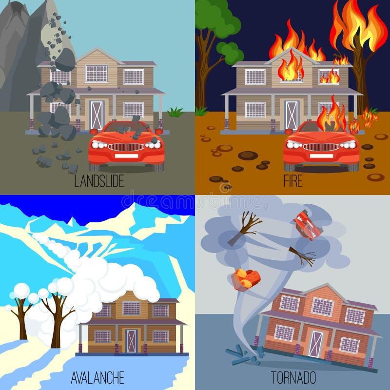Sistema del derrumbamiento de las banderas de los desastres naturales, fuego, avalancha, tornado stock de ilustración