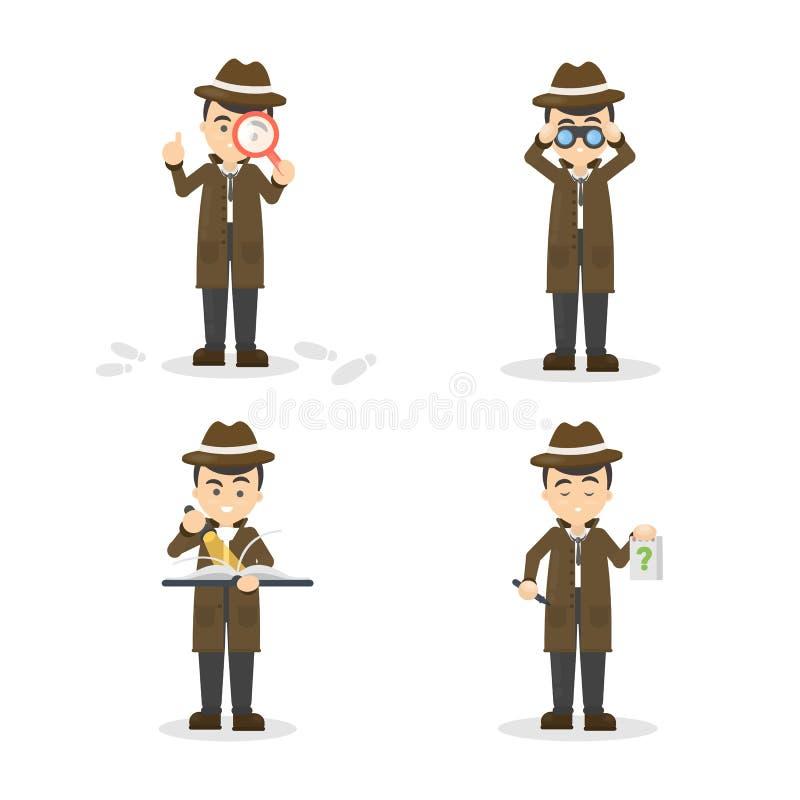 Sistema del detective de la historieta ilustración del vector